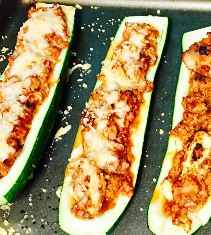 finished zucchini boats